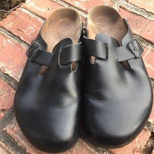 Birkenstock Boston Mens Black Leather Clogs 44 M11